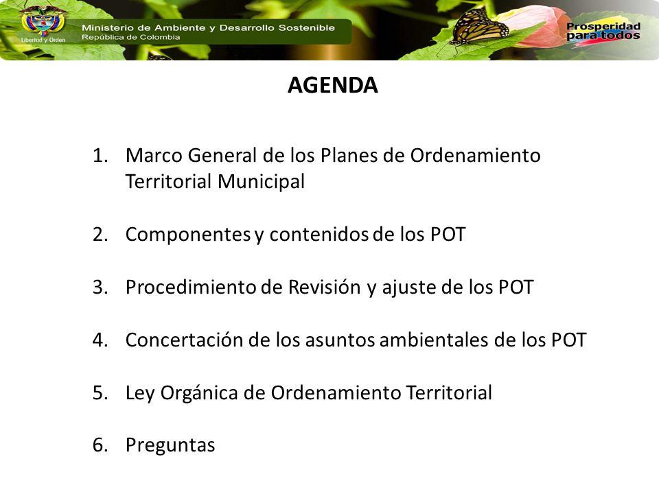 AGENDA Marco General de los Planes de Ordenamiento Territorial Municipal. Componentes y contenidos de los POT.