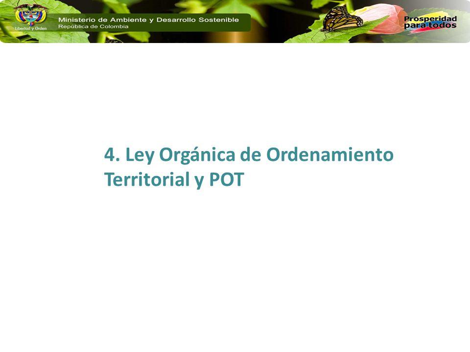 4. Ley Orgánica de Ordenamiento Territorial y POT