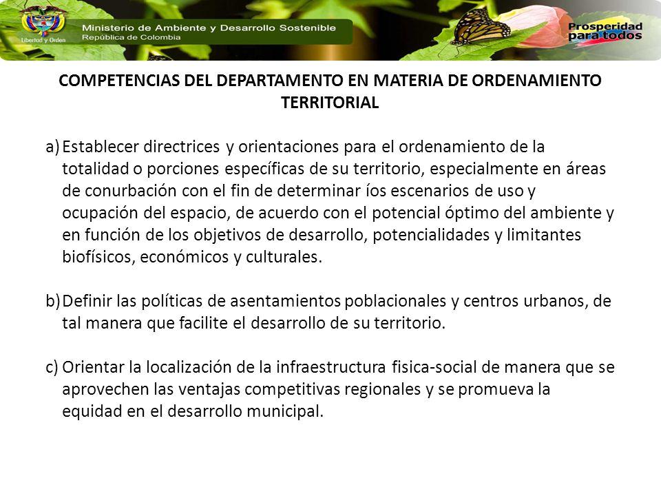 COMPETENCIAS DEL DEPARTAMENTO EN MATERIA DE ORDENAMIENTO TERRITORIAL