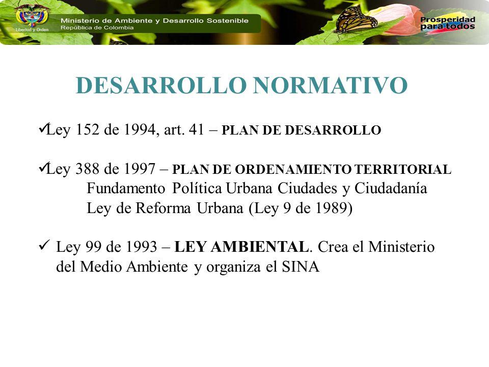 DESARROLLO NORMATIVO Ley 152 de 1994, art. 41 – PLAN DE DESARROLLO