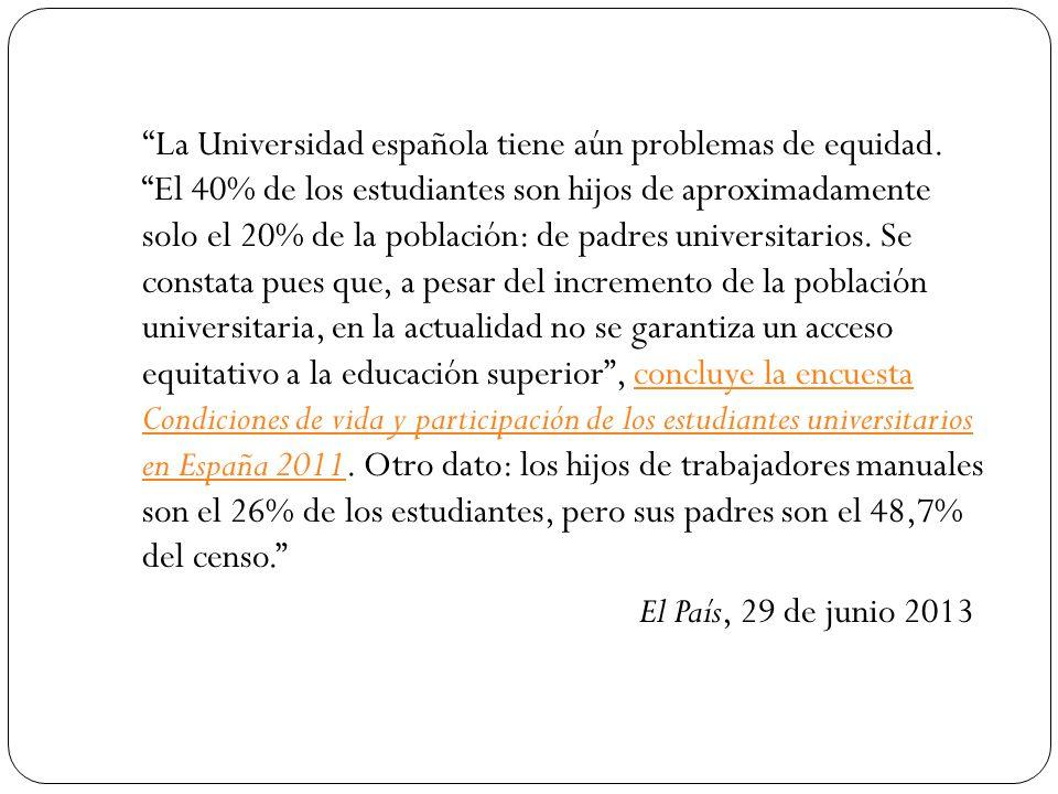 La Universidad española tiene aún problemas de equidad