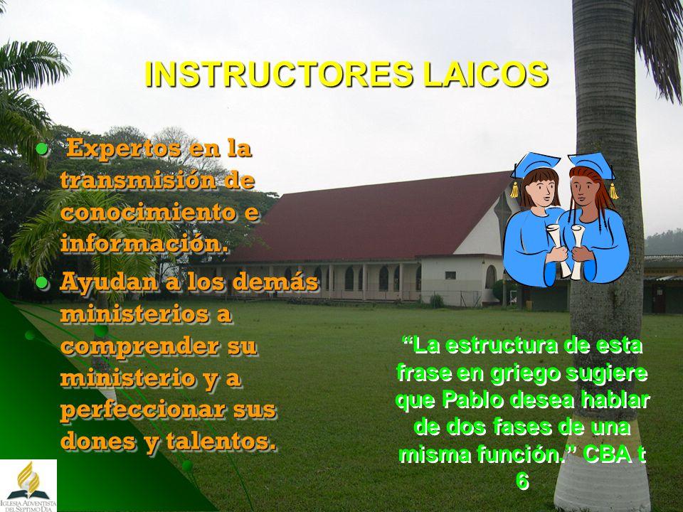 INSTRUCTORES LAICOS Expertos en la transmisión de conocimiento e información.