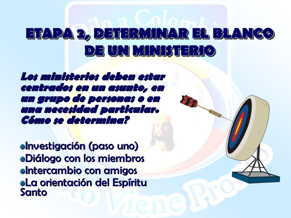 ETAPA 2, DETERMINAR EL BLANCO DE UN MINISTERIO