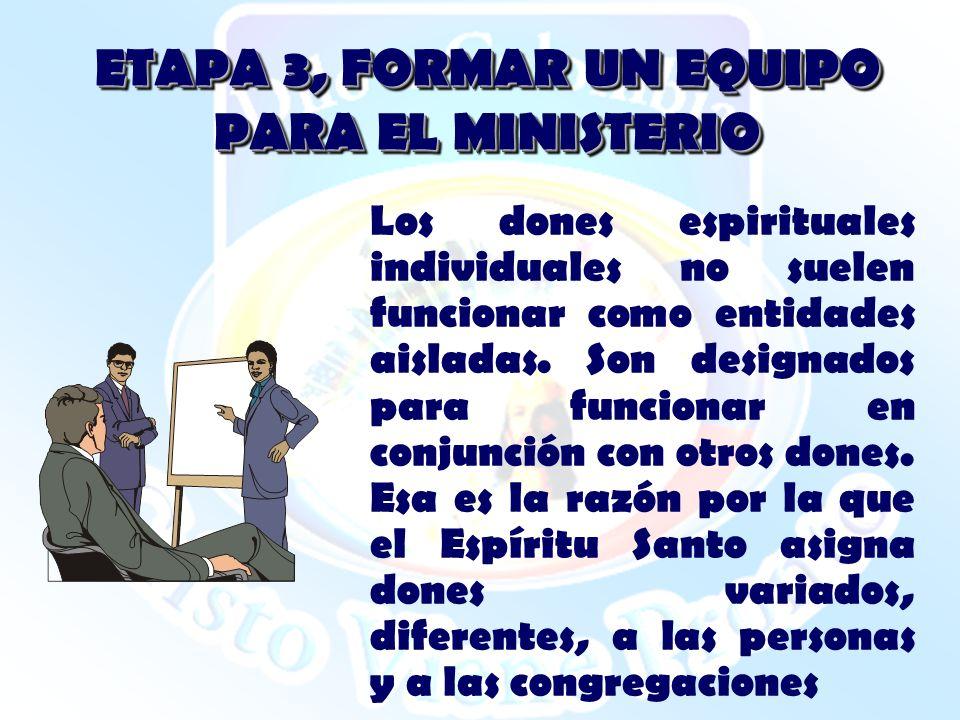 ETAPA 3, FORMAR UN EQUIPO PARA EL MINISTERIO