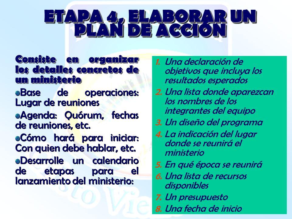 ETAPA 4, ELABORAR UN PLAN DE ACCIÓN