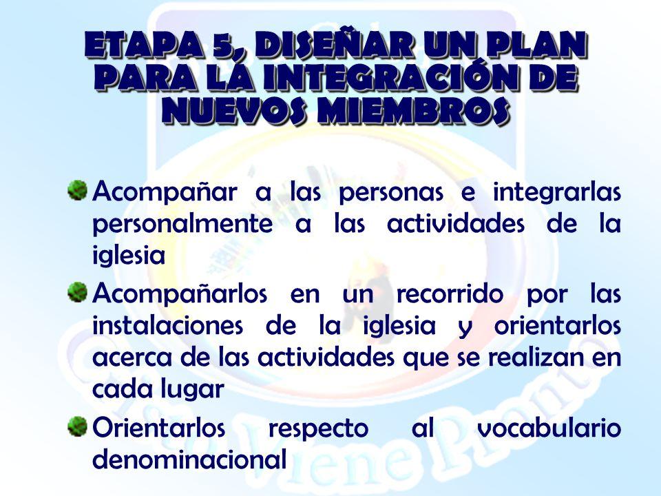 ETAPA 5, DISEÑAR UN PLAN PARA LA INTEGRACIÓN DE NUEVOS MIEMBROS