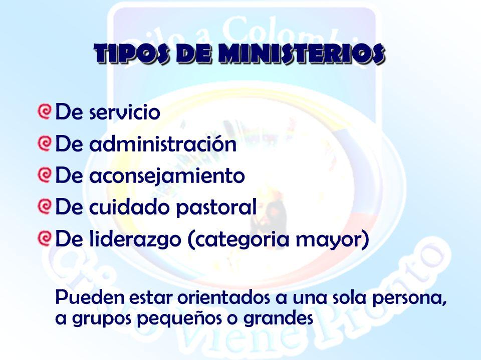 TIPOS DE MINISTERIOS De servicio De administración De aconsejamiento