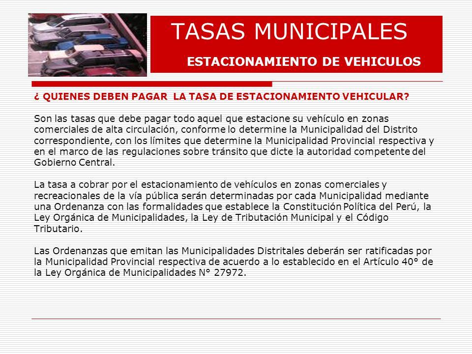 TASAS MUNICIPALES ESTACIONAMIENTO DE VEHICULOS