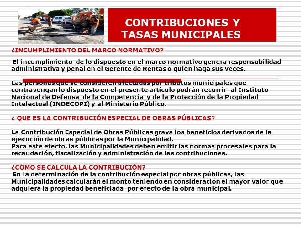 CONTRIBUCIONES Y TASAS MUNICIPALES