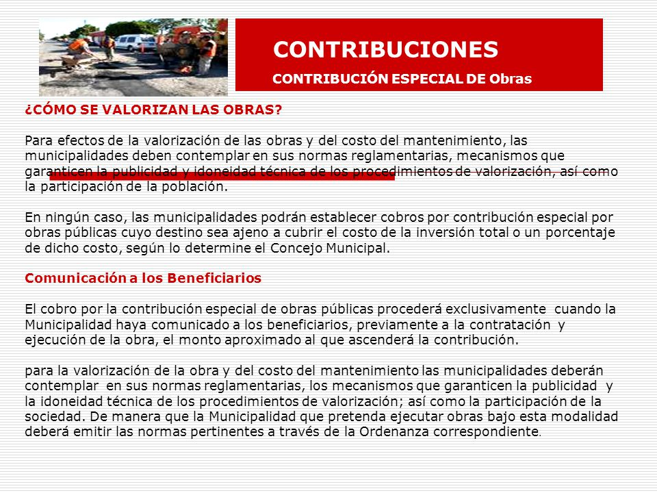 CONTRIBUCIONES CONTRIBUCIÓN ESPECIAL DE Obras