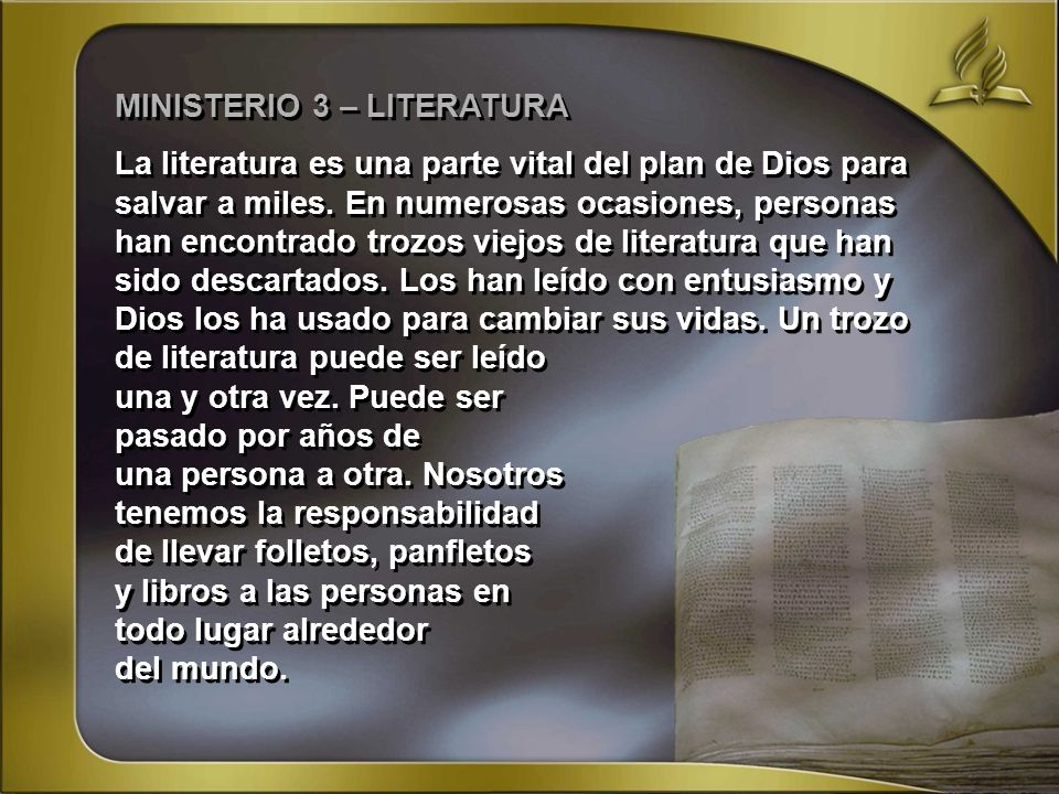 MINISTERIO 3 – LITERATURA