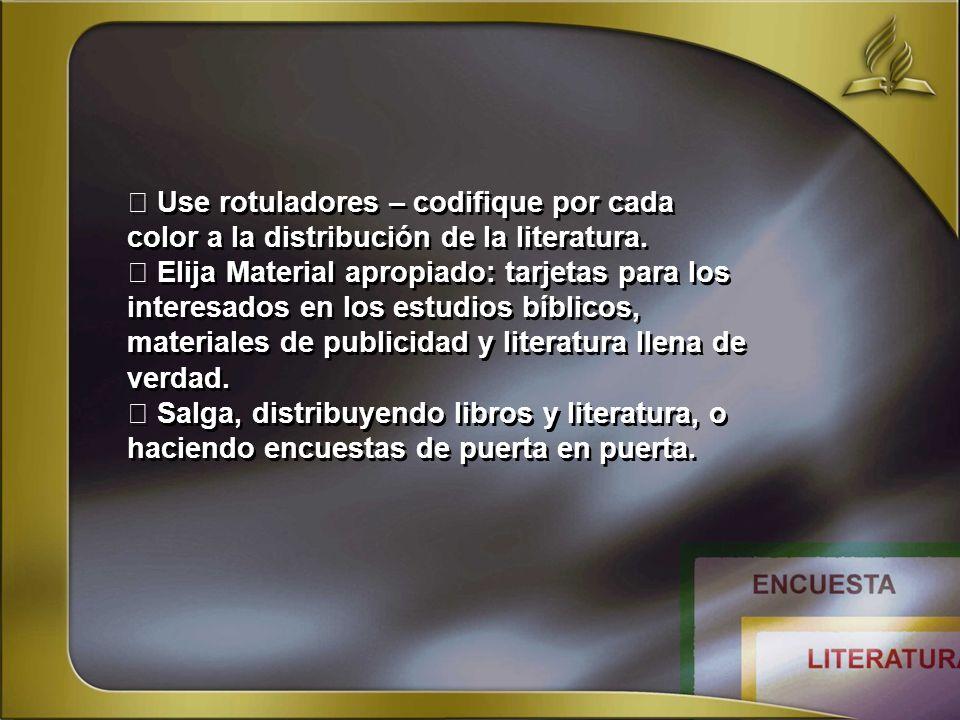  Use rotuladores – codifique por cada color a la distribución de la literatura.