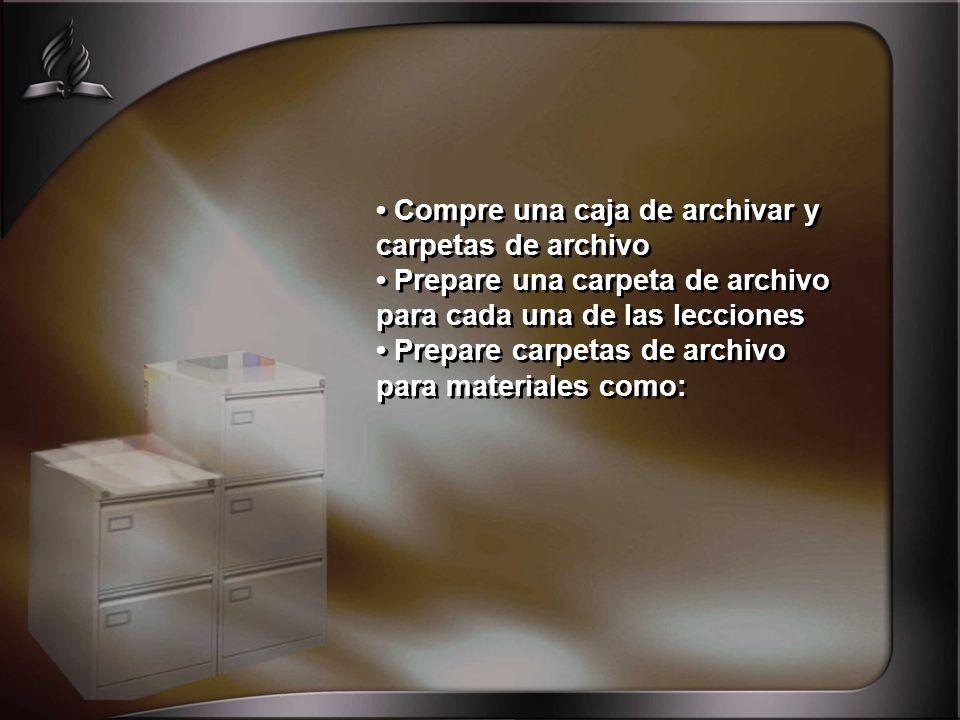 • Compre una caja de archivar y carpetas de archivo