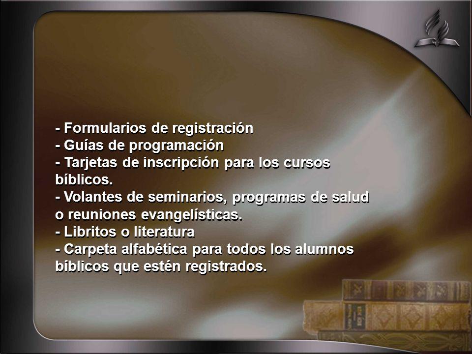 - Formularios de registración
