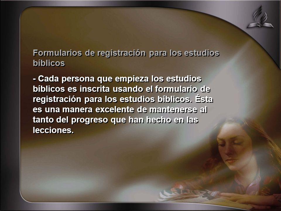 Formularios de registración para los estudios bíblicos