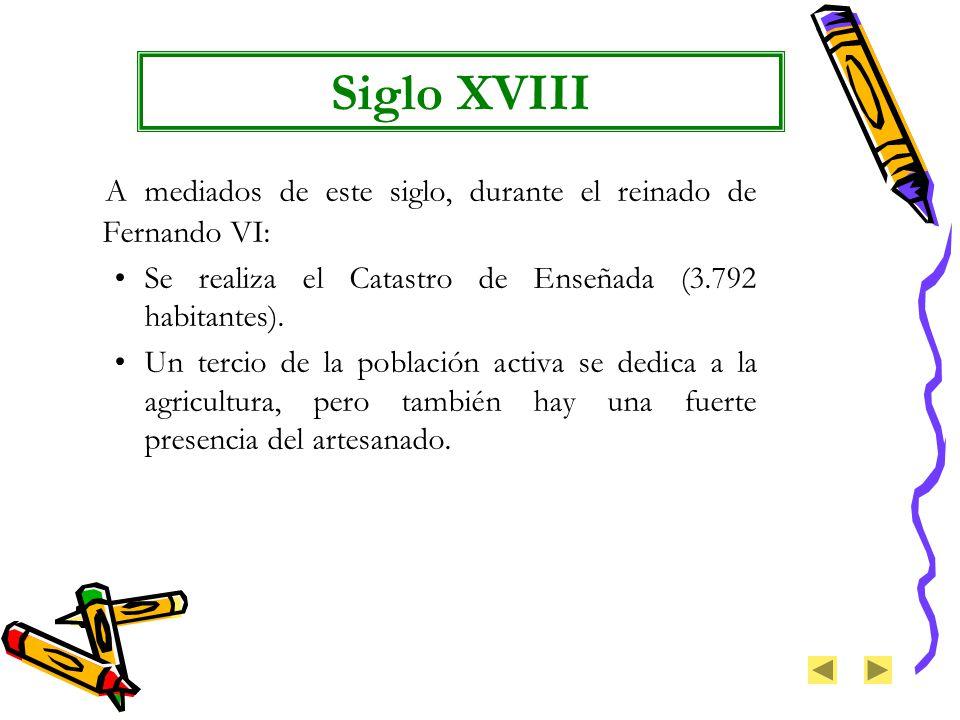 Siglo XVIII A mediados de este siglo, durante el reinado de Fernando VI: Se realiza el Catastro de Enseñada (3.792 habitantes).