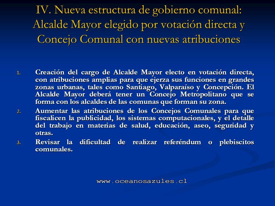 IV. Nueva estructura de gobierno comunal: Alcalde Mayor elegido por votación directa y Concejo Comunal con nuevas atribuciones