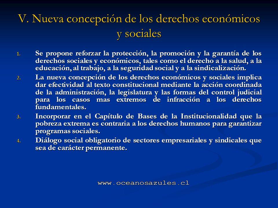 V. Nueva concepción de los derechos económicos y sociales