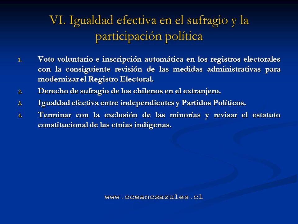 VI. Igualdad efectiva en el sufragio y la participación política
