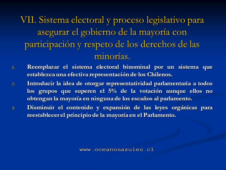 VII. Sistema electoral y proceso legislativo para asegurar el gobierno de la mayoría con participación y respeto de los derechos de las minorías.