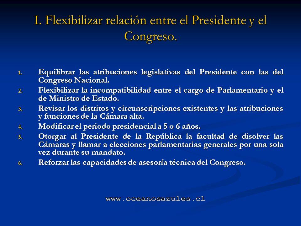 I. Flexibilizar relación entre el Presidente y el Congreso.