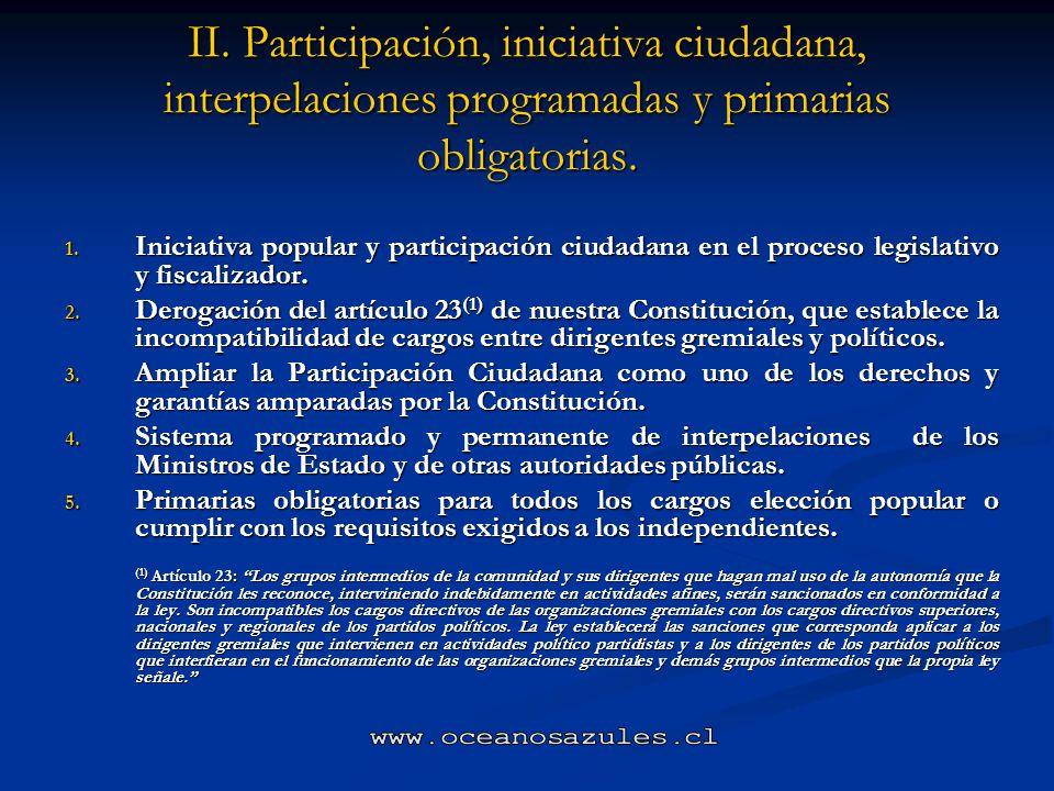 II. Participación, iniciativa ciudadana, interpelaciones programadas y primarias obligatorias.