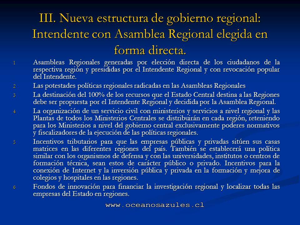 III. Nueva estructura de gobierno regional: Intendente con Asamblea Regional elegida en forma directa.