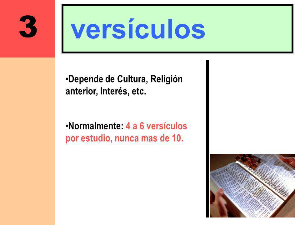 3 versículos Depende de Cultura, Religión anterior, Interés, etc.