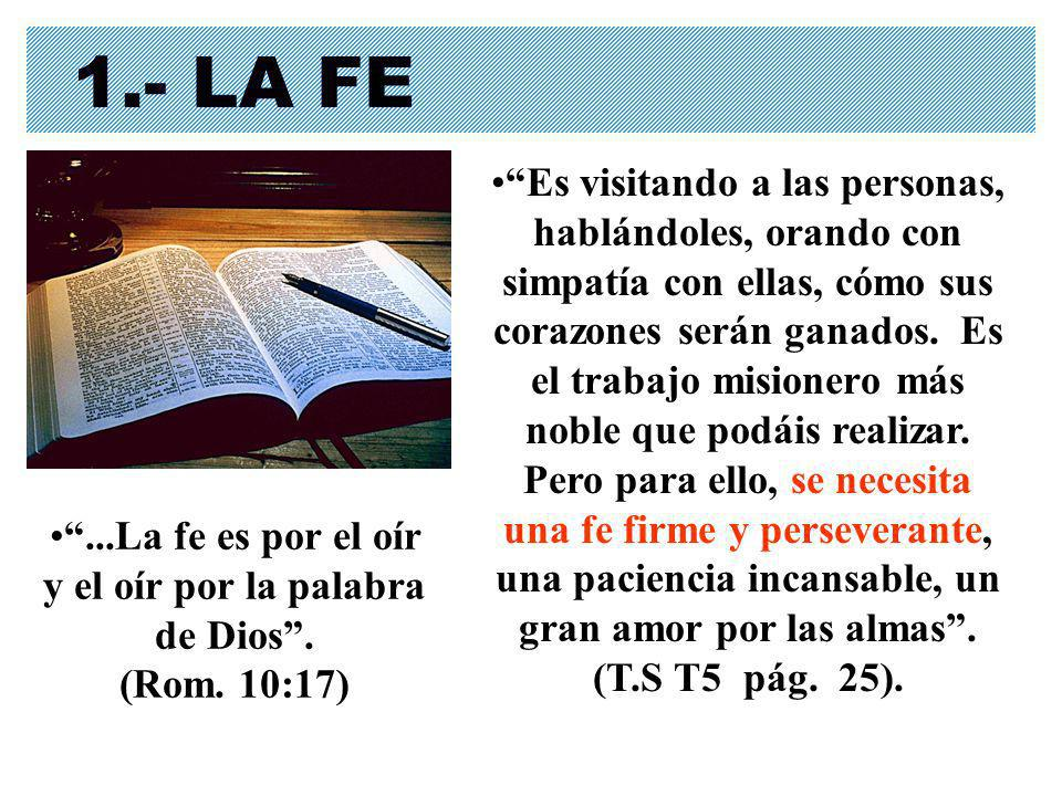...La fe es por el oír y el oír por la palabra de Dios . (Rom. 10:17)