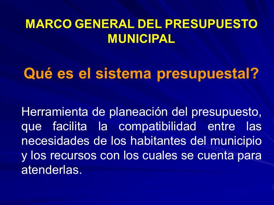 MARCO GENERAL DEL PRESUPUESTO MUNICIPAL