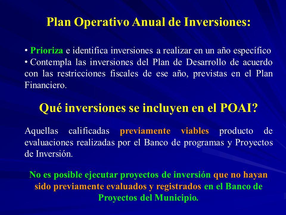Plan Operativo Anual de Inversiones: