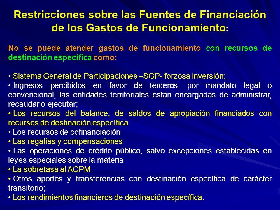 Restricciones sobre las Fuentes de Financiación de los Gastos de Funcionamiento: