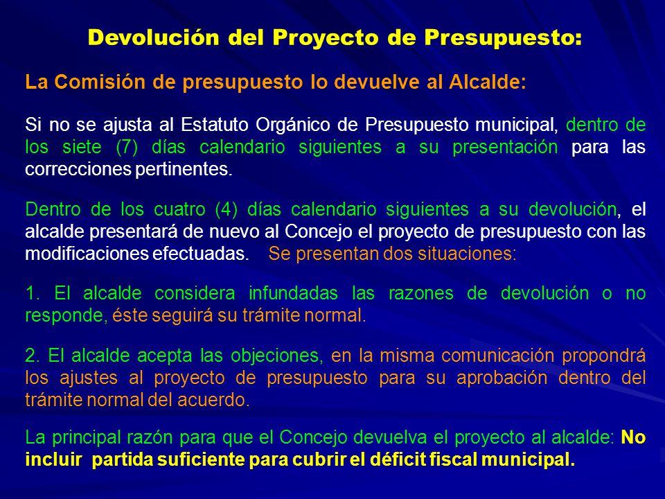 Devolución del Proyecto de Presupuesto: