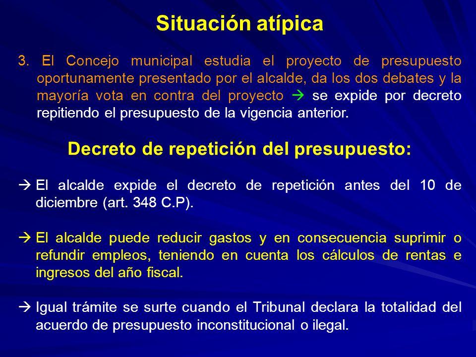 Decreto de repetición del presupuesto: