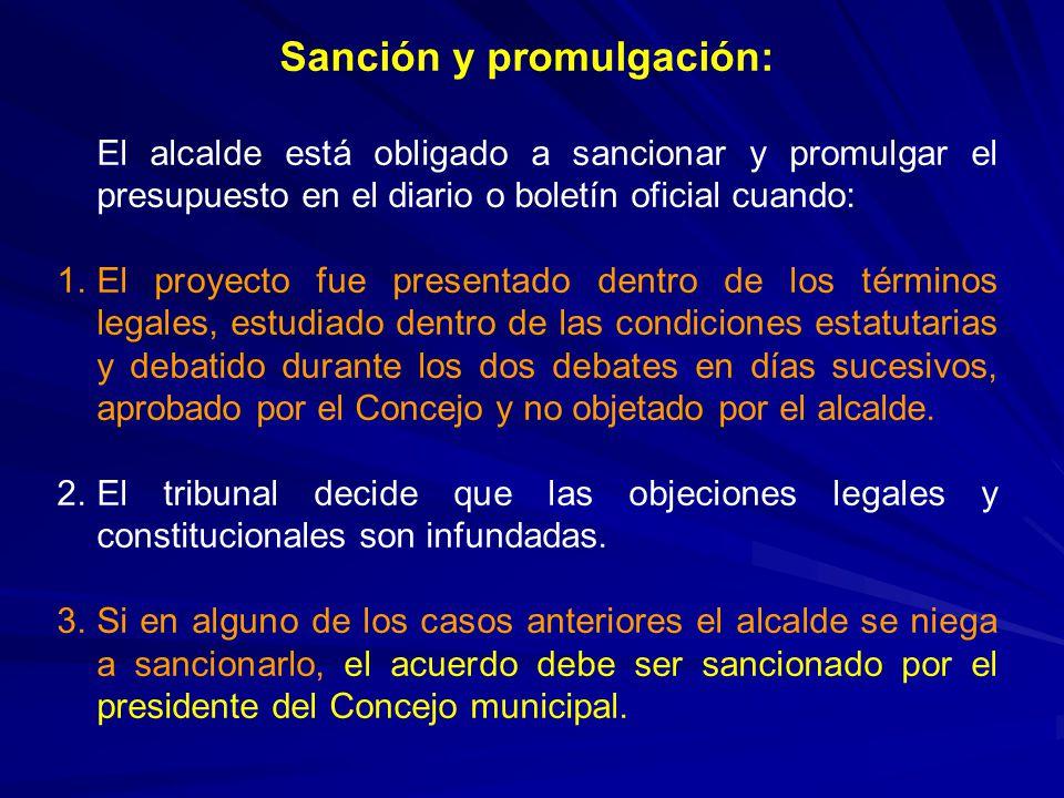 Sanción y promulgación: