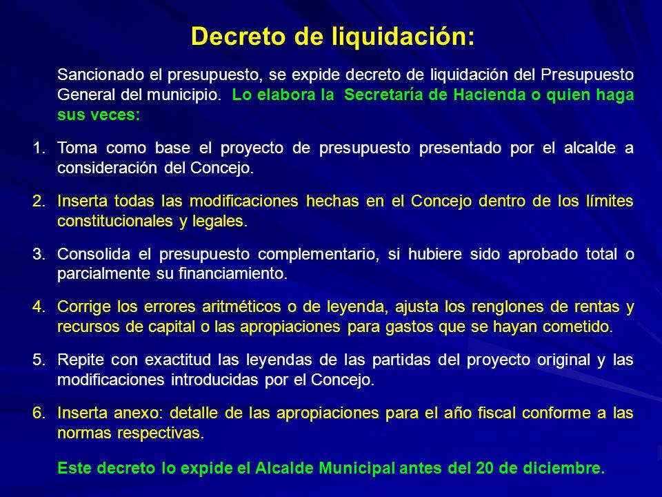 Decreto de liquidación: