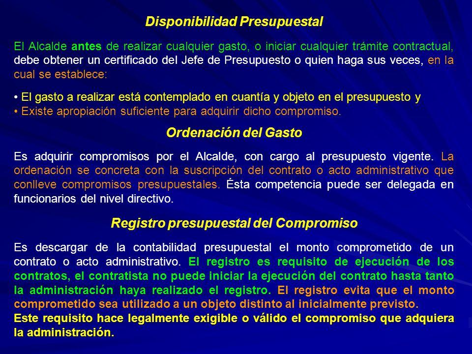 Disponibilidad Presupuestal Registro presupuestal del Compromiso