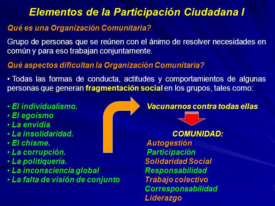 Elementos de la Participación Ciudadana I