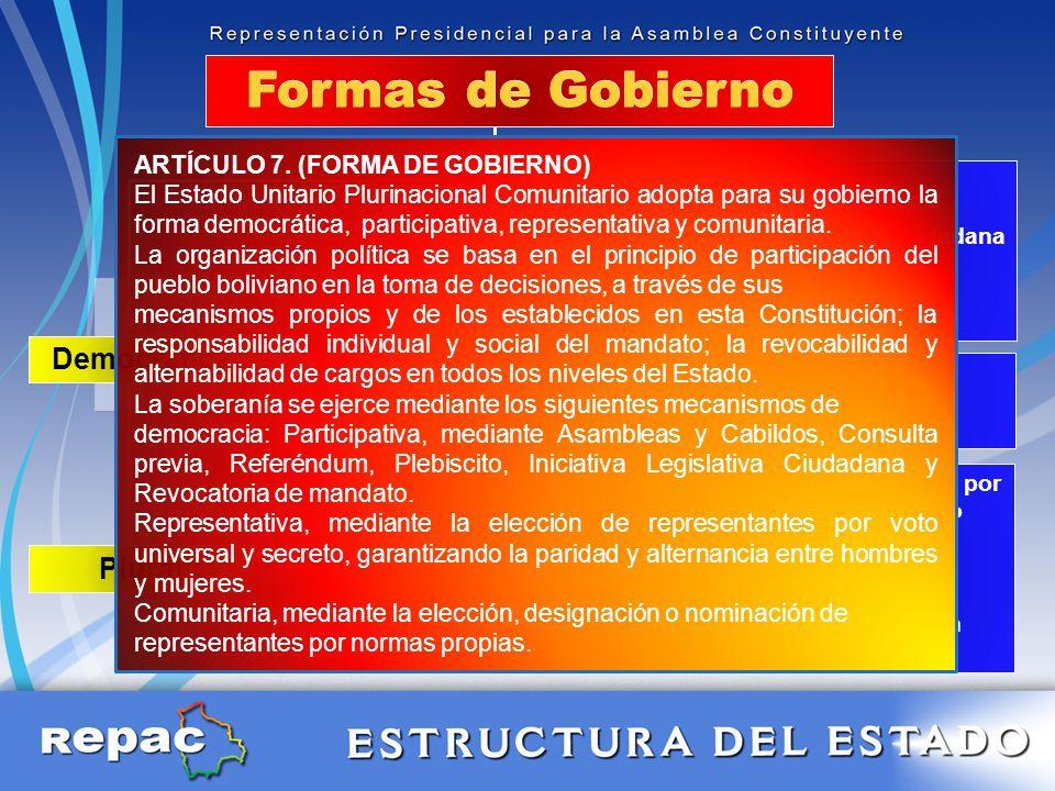 Formas de Gobierno Participativa Democrática Representativa