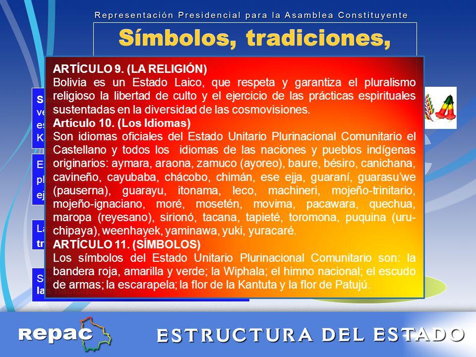 Símbolos, tradiciones, religión e idiomas