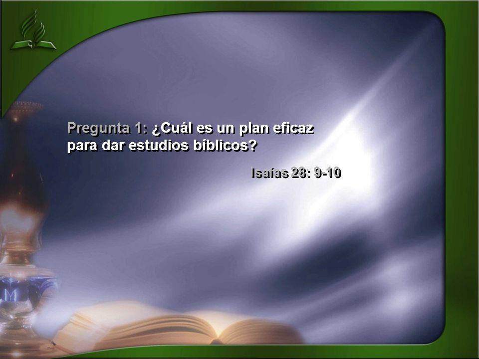 Pregunta 1: ¿Cuál es un plan eficaz para dar estudios bíblicos