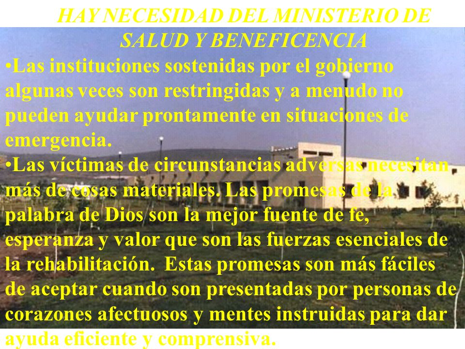 HAY NECESIDAD DEL MINISTERIO DE SALUD Y BENEFICENCIA