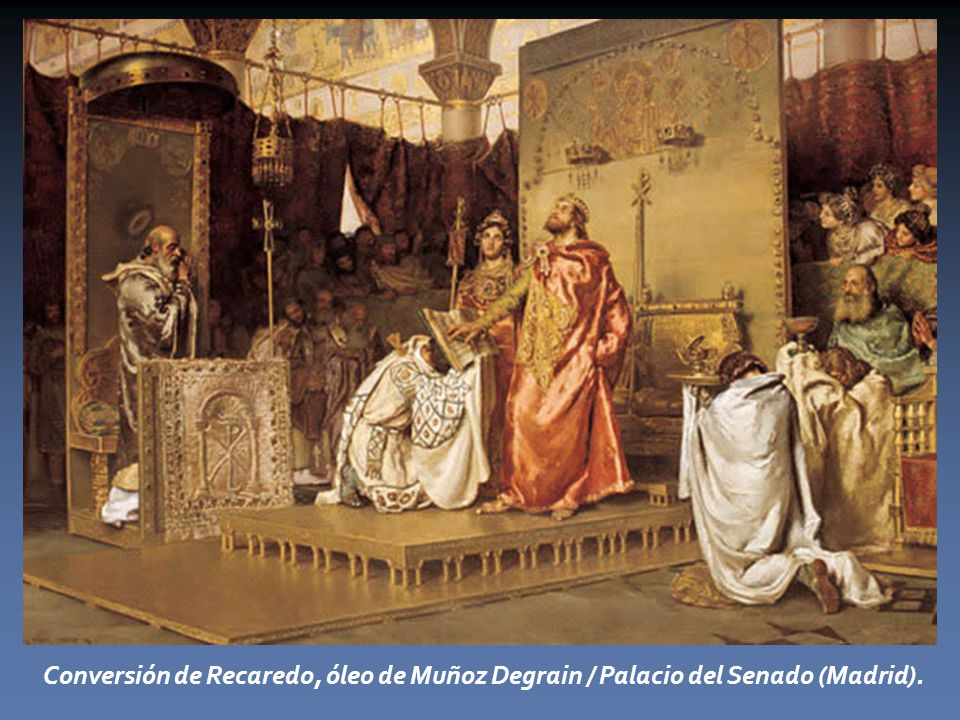 Conversión de Recaredo, óleo de Muñoz Degrain / Palacio del Senado (Madrid).