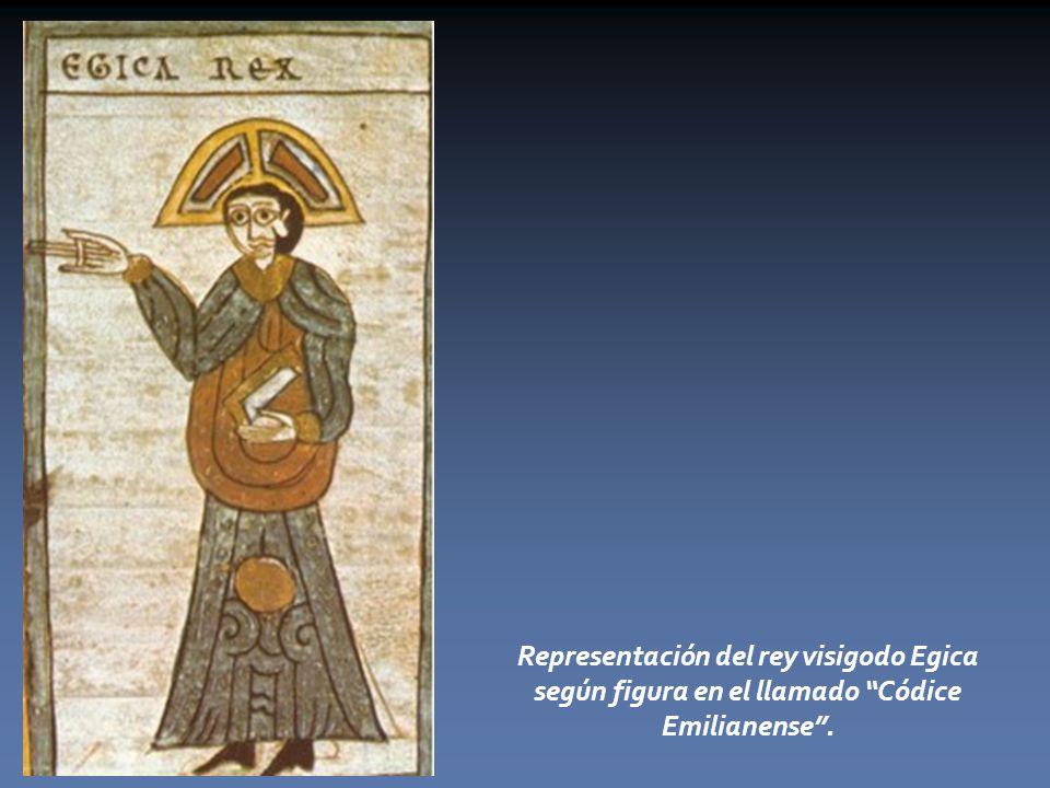 Representación del rey visigodo Egica según figura en el llamado Códice Emilianense .