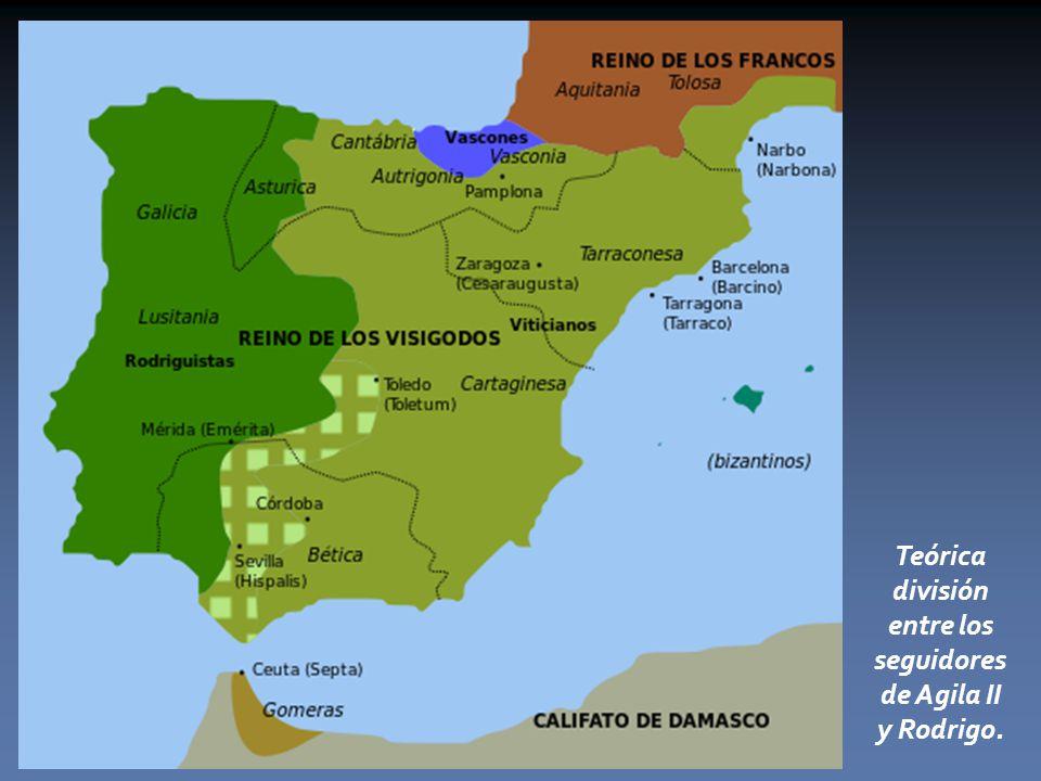 Teórica división entre los seguidores de Agila II y Rodrigo.