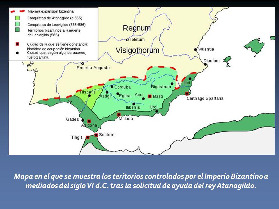 Mapa en el que se muestra los teritorios controlados por el Imperio Bizantino a mediados del siglo VI d.C.