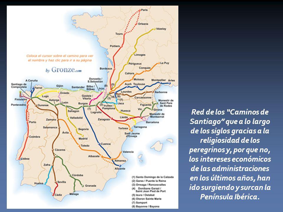 Red de los Caminos de Santiago que a lo largo de los siglos gracias a la religiosidad de los peregrinos y, por que no, los intereses económicos de las administraciones en los últimos años, han ido surgiendo y surcan la Península Ibérica.