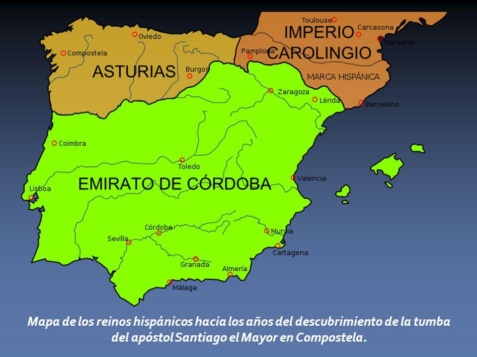 Mapa de los reinos hispánicos hacia los años del descubrimiento de la tumba del apóstol Santiago el Mayor en Compostela.