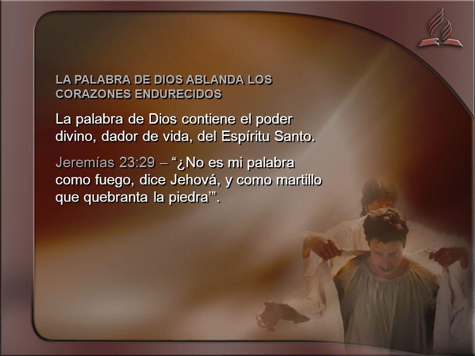 LA PALABRA DE DIOS ABLANDA LOS CORAZONES ENDURECIDOS