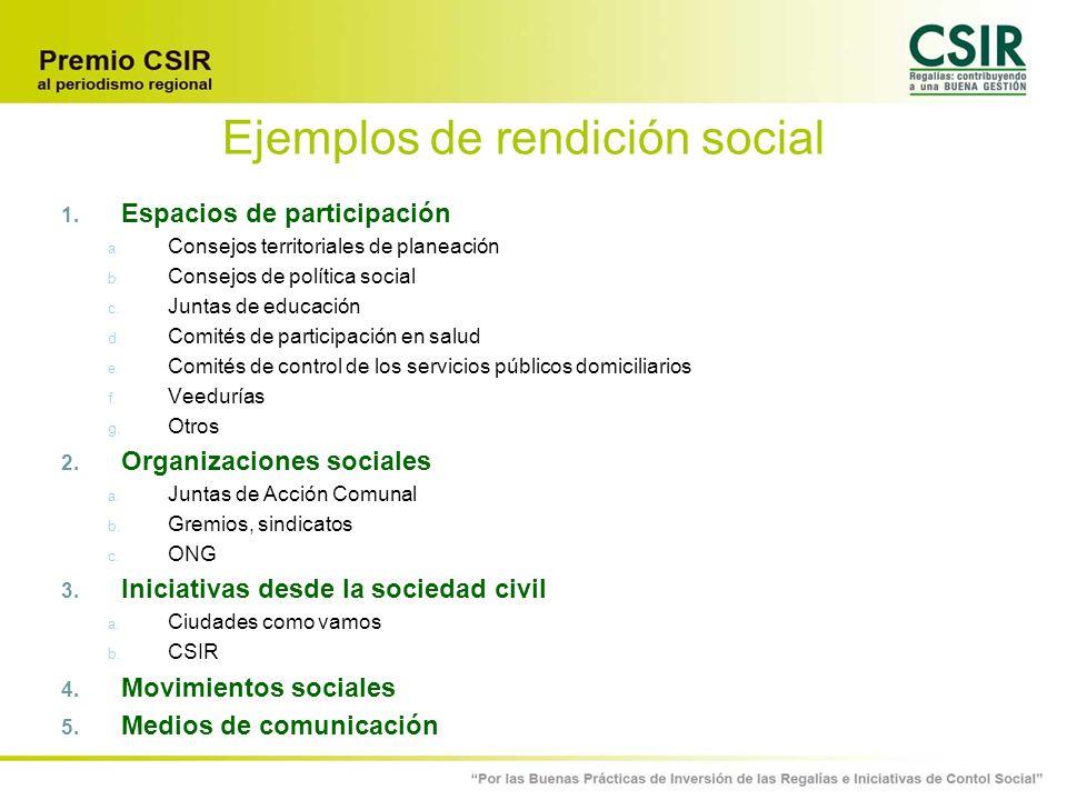 Ejemplos de rendición social